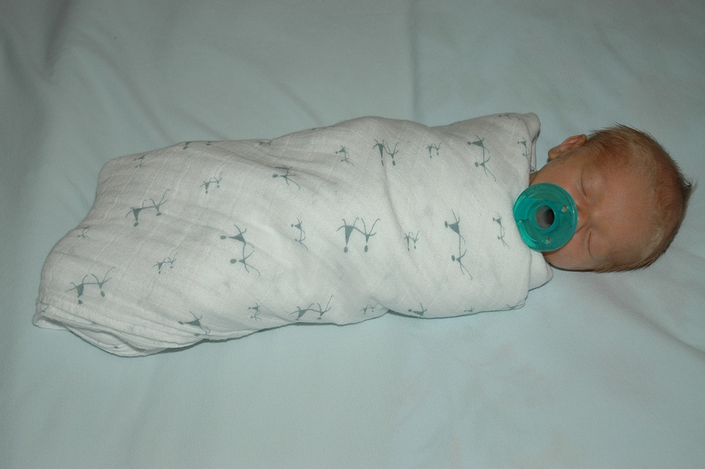 Sleeping with Pacifier & Swaddle